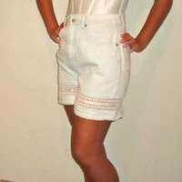 90s Super Light Wash Bleached Denim High Waisted Shorts with Lace Crochet and Ribbon Design, L.A. Blues