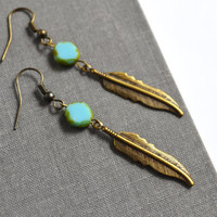 Tribal Feather Earrings. Teal Picasso Flat Bead. Detailed Feather Charm. Hanging Feather Earrings