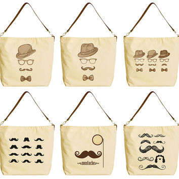 Bowler Fedoras Mustache Beige Printed Canvas Tote Bag with Leather Strap WAS_29