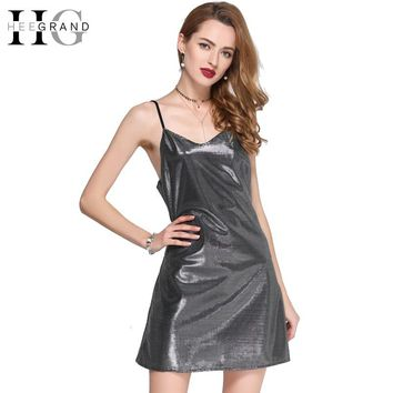 Ladies Summer Party Dresses Sexy Night Club Metal Sequin Dresses