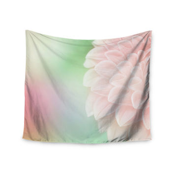 "Robin Dickinson ""Sweet Pink"" Green Floral Wall Tapestry"
