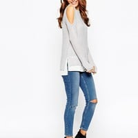 ASOS Petite | ASOS PETITE Sweater with Cold Shoulder and Woven Detail at ASOS