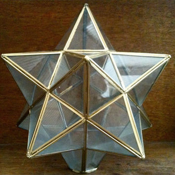 Vintage Glass Star Shape Lamp Shade in Brass / English Shop