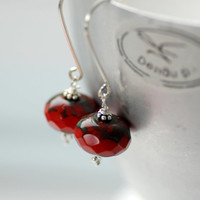 Dark Red Glass Earrings, Cranberry Faceted Czech Glass and Sterling Silver - simplify