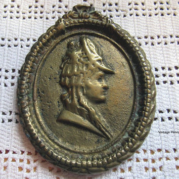 Vintage Brass Cameo Wall Hanging, Antique Brass, Brass Portrait Wall Art, Boho, Bohemian Decor