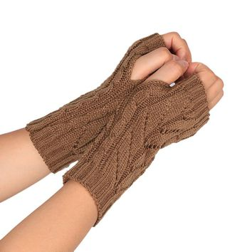Casual Gloves for men women  Knitted Arm Fingerless Winter Gloves Unisex Soft Warm