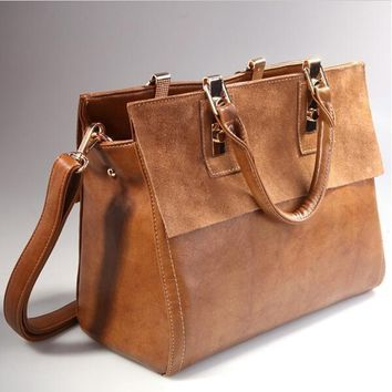 Fashion Womens Real Leather With Nubuck Retro Classic Style Brown Satchel Messenger handbags