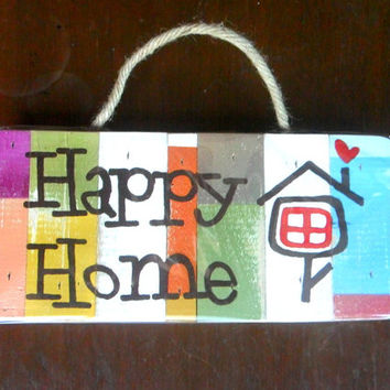 "Wood Pallet  Sign  "" Happy home ""  Rustic Reclaimed Wood Handmade wooden Signs Wall Hnging Home Decor Custom Hand Painted / Gift 10""X4.75"""