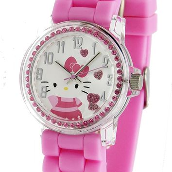 Sanrio Hello Kitty Women's Rhinestone Watch With Pink PU Band
