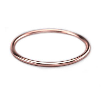 1mm Thin Gold Band - Rose Gold