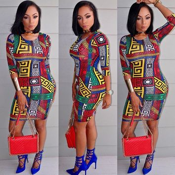 Colorful Print Bodycon Dress with Sleeves