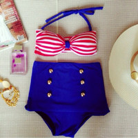 Nautical High Waisted Bikini
