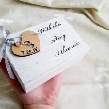 White silver shabby chic distressted wood rustic wedding rings box padlock heart key vintage custom writings