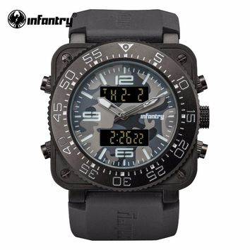 INFANTRY Mens Top Brand Luxury Quartz Watch Camoufle Military Square Face Watch Relogio Masculino Water Resistant Rubber Strap