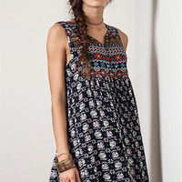 Boho Baby Doll Sleeveless Dress - Navy