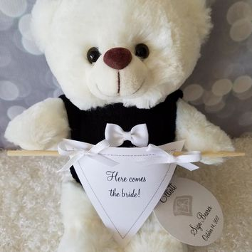 Ring Bearer Gift Here Comes The Bride Banner Teddy Bear, 11inches Cream