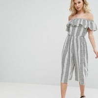 Missguided Striped Bardot Frill Detail Jumpsuit at asos.com