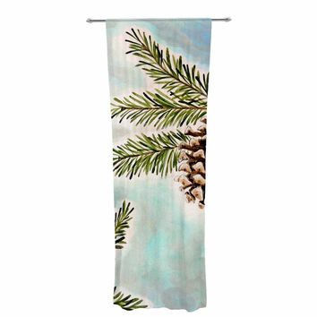 "Christen Treat ""Pinecones and Sky"" Blue Brown Decorative Sheer Curtain"