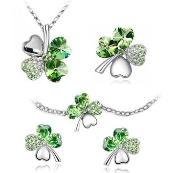BodyJ4You Fashion Jewelry Set Four Leaf Clovers 5 Piece Set: Green Crystal Necklace Earrings Bracelet and Pin