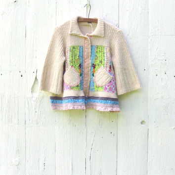 Free People Funky Cardigan upcycled bohemian patchwork sweater cream boho chic clothing size Med Large refashioned handmade by wearlovenow