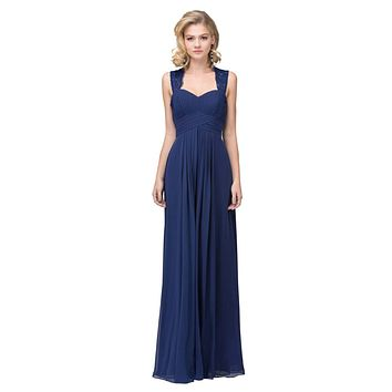 Starbox USA Navy Blue Long Bridesmaids Dress Cut Out Back Empire Waist