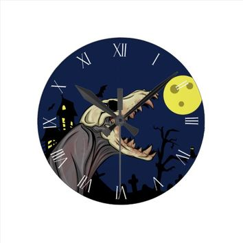 Skull Monster Round Clock