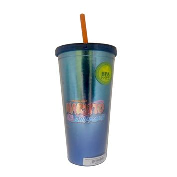 Official Naruto Tumbler Travel Cup, with Screw Top Lid and Reusable Straw, Full Wrapped Foil Textured, Set of 1, 24 oz