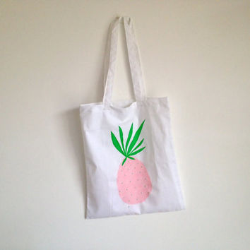 Cotton Tote with Hand Painted Pink Pineapple Summer Bag Tropical Eco Friendly Gift