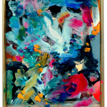 An Original Acrylic Impressionistic Abstract Coloruful Contemporary Modern Mirror Painting Made With Lips by Kelli Gedvil!