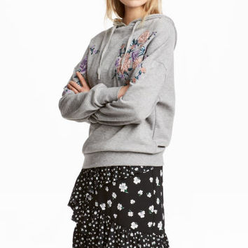 Embroidered Hooded Sweatshirt - from H&M