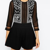 ASOS Woven Playsuit With White Embroidery