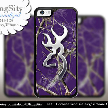 Browning Cutter Purple Tree Camo iPhone 4 5 5C 6 PLUS Case Cover Rubber Silicone Not real actual Chrome Country Girl