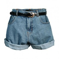 Retro Oversized High Waist Denim Shorts with Waistband