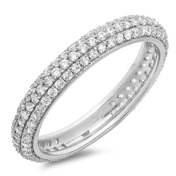 14K White Gold 1.9TCW Round Cut Russian Lab Diamond Ring