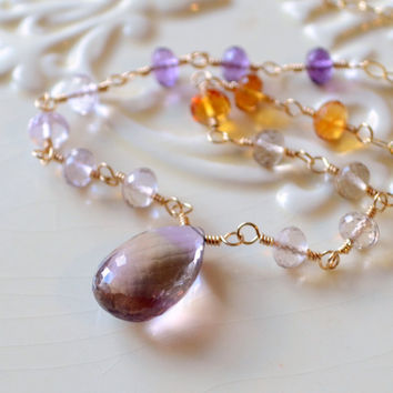 NEW Shaded Ametrine Necklace, Champagne Citrine Pink Amethyst AAA Gemstones, Purple Yellow, Sterling Silver or Gold Jewelry, Free Shipping