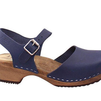 Swedish Clogs Low Wood Dark Navy Leather Brown Base by Lotta from Stockholm / Wooden Clogs / Sandals / Low Heel / Mary Jane Shoes