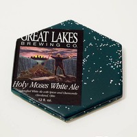 Ceramic Hexagon Beer Label Coaster | Great Lakes Holy Moses White Ale | Upcycle Ceramic Tile Coaster | Craft Beer Geek Gift | Single Coaster