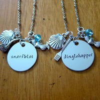 Ariel Inspired Little Mermaid Necklace. Little Mermaid Friendship necklaces. Dinglehopper and Snarfblat. Set of 2. Little Mermaid jewelry.
