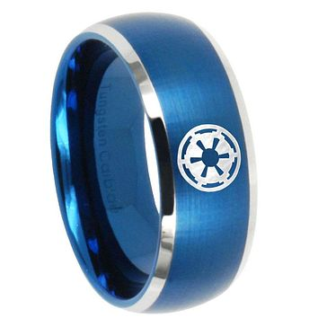 10mm Star Wars Empire Dome Brushed Blue 2 Tone Tungsten Mens Wedding Ring