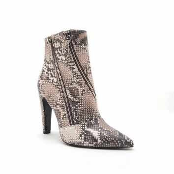 Wink-09 Beige Brown Snake Double Zipper On Bootie