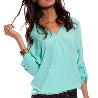 Sienna Pocket Top in Sea Green :: tobi