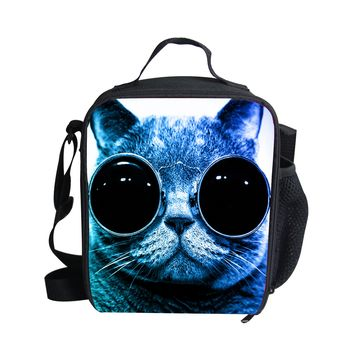Cat  with Cool Glasses Thermal Insulated Lunch Bags 6 Styles