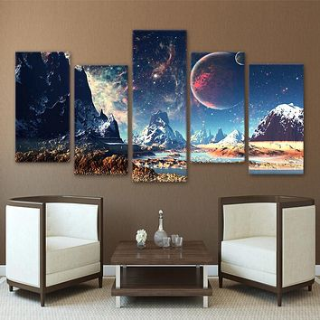 Home Decor Canvas HD Prints Wall Art Pictures 5 Pieces Mountains And Space Painting Set Planet Snow Lake Galaxy Poster Framework