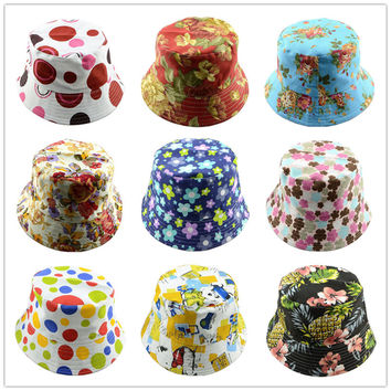 Women cotton Bucket Hat Sewing Pattern Summer Fishing Beach Sun Hat Plaid Summertime Garden Dress Hat Poldable 1pc WH053