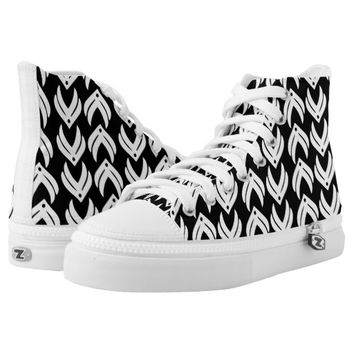 Black and white tribal style pattern printed shoes