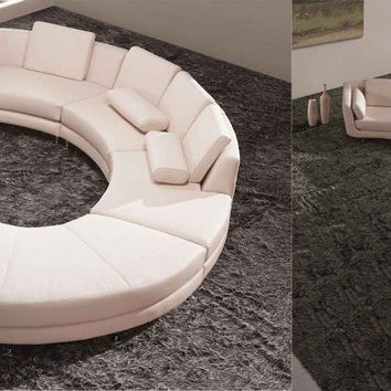 In Stock Off White Curved Leather Sofa Sectional - Opulentitems.com