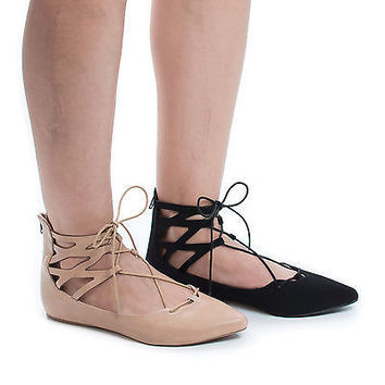 Birtha Pointy Toe Lace Up Leg Wrap Ankle Cuff Ballerina Flats