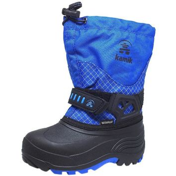 Kamik Dare Boy's Waterproof Weather Thick Durable -40 degree F Snow Boots, Blue/Black