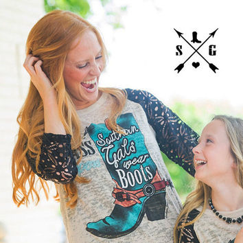 Forget Glass Slippers, Southern Gals Wear Boots Burnout Shirt