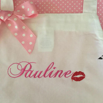 Personalize Apron with Name Sexy Red Lips Birthday Gift Customize Retirement Gift
